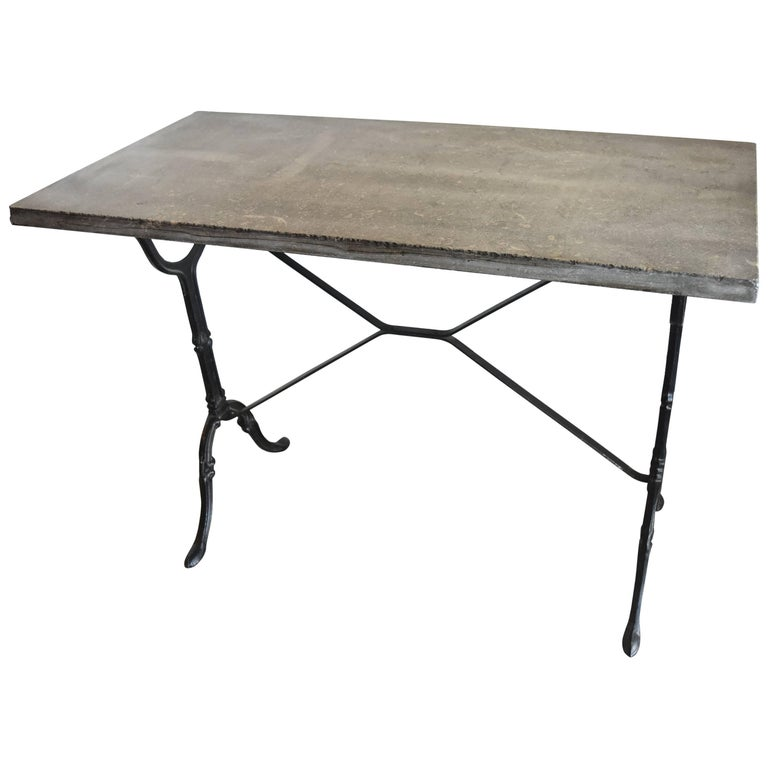 Vintage Blue Stone Marble Top Table with Metal Painted Black Base from Belgium