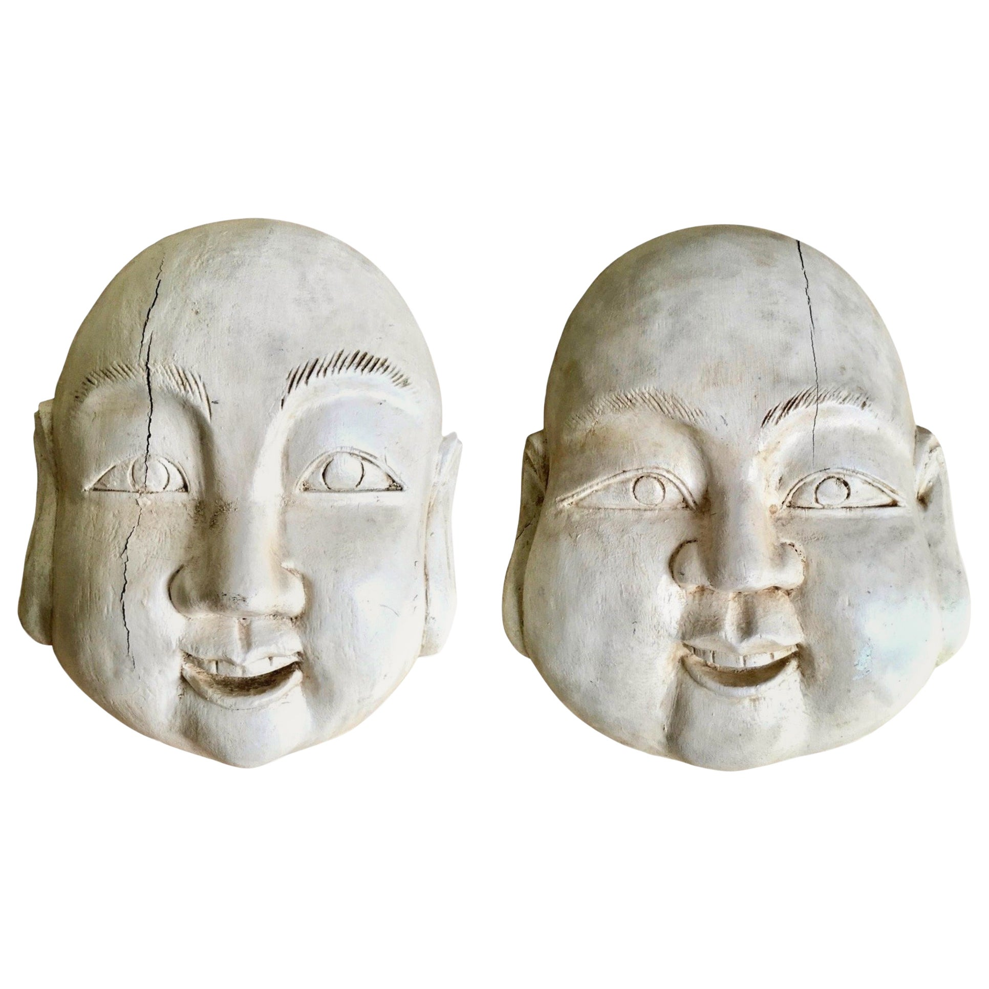 Large Pair of Carved Wood Buddha Heads