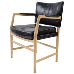 Hans J. Wegner Aarhus City Hall Chair in Black Leather