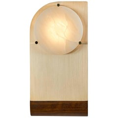 Polifemo Sconce Contemporary Sculptural Wall Light fixture Brass Alabaster Wood