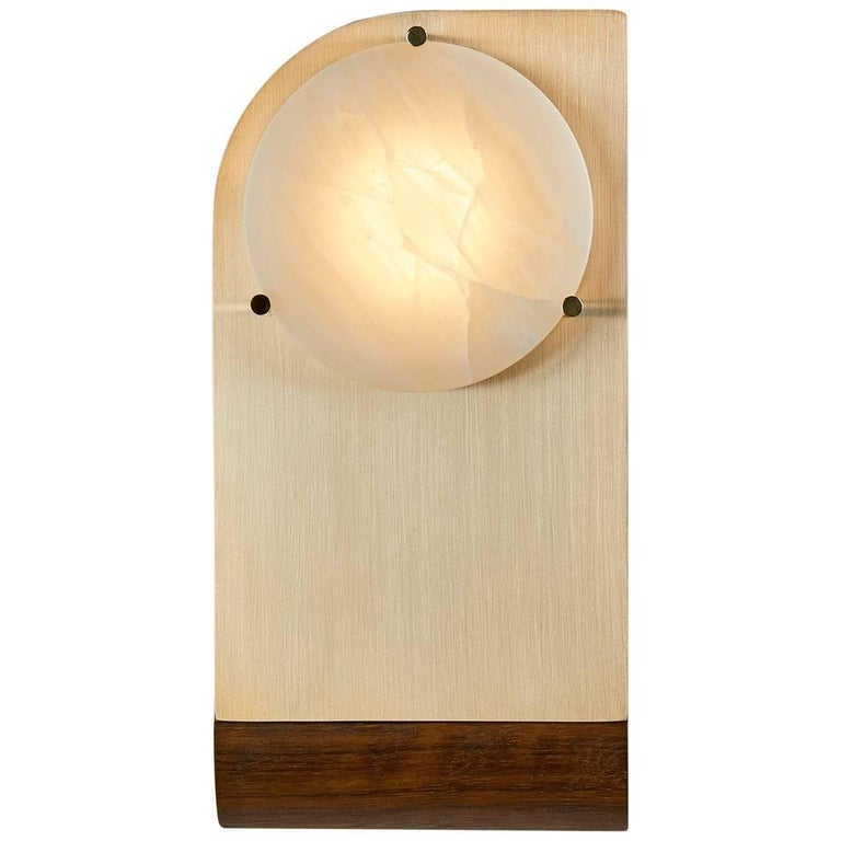 Polifemo Sconce Brushed Brass Wood and Alabaster Sculptural Wall Light fixture
