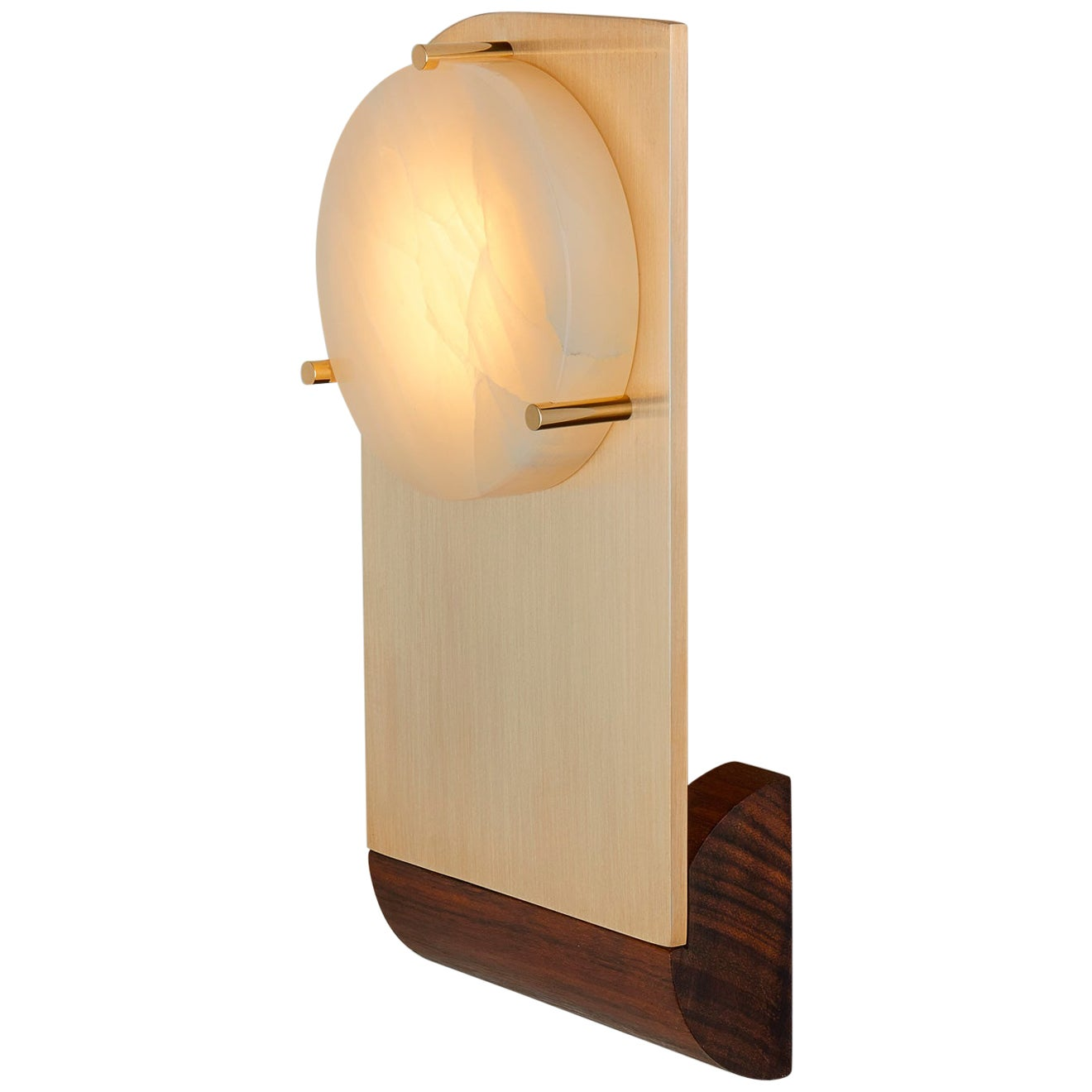 Polifemo Sconce Contemporary Sculptural Wall Light Fixture Brass Onyx Wood