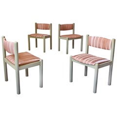 Vintage Set of Four Dining Chairs in Silk and Glazed Oak, Sweden, 1960s