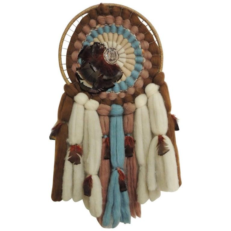 South Western Dream Catcher Mandala Native American Fiber Art Wall
