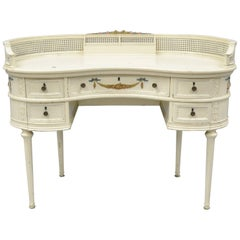 Antique French Louis XVI Style Kidney Shaped Writing Desk Painted Vanity Table