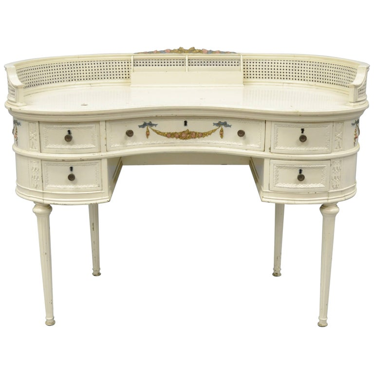 Antique French Louis Xvi Style Kidney Shaped Writing Desk Painted Vanity Table For