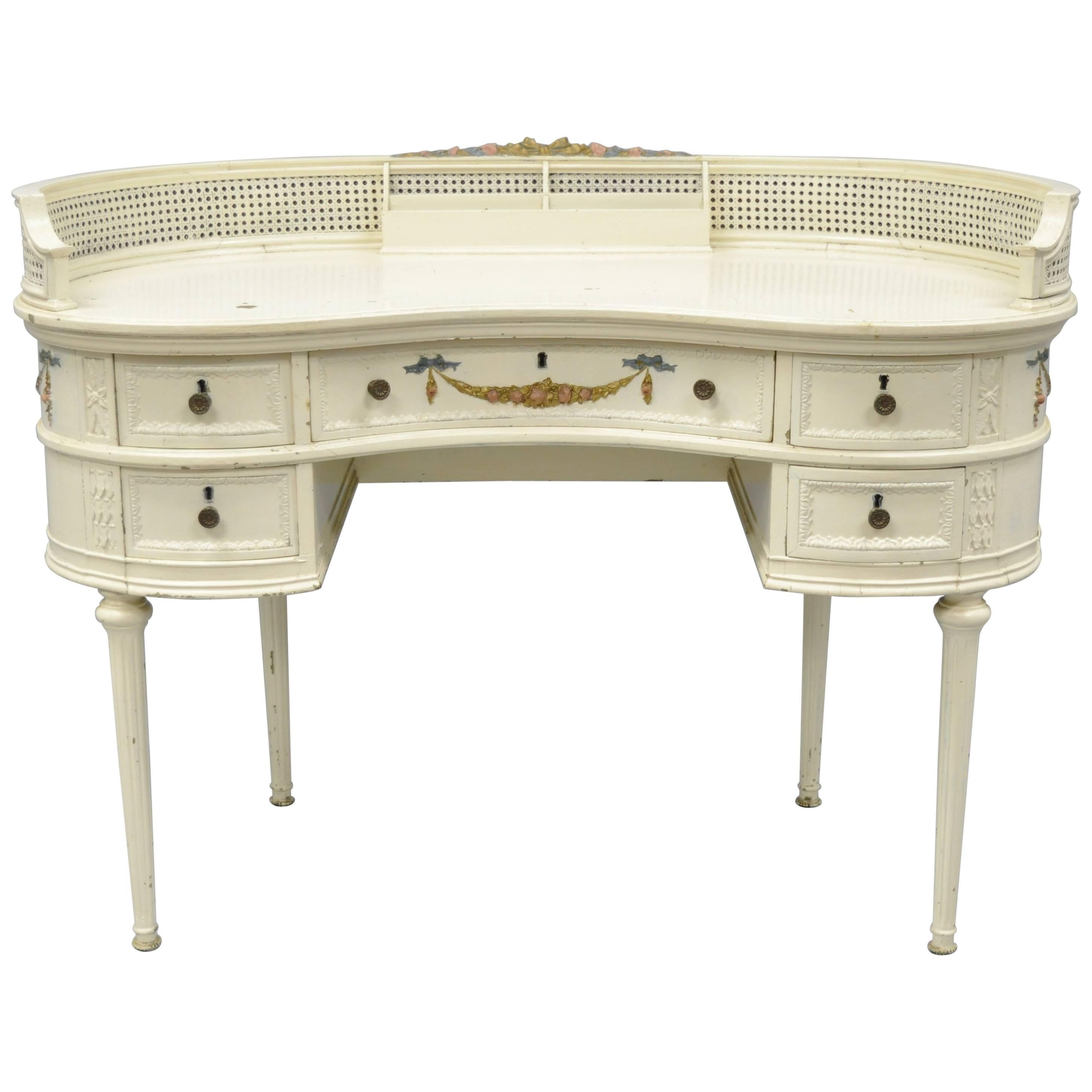Antique French Louis XVI Style Kidney Shaped Writing Desk Painted Vanity  Table For Sale