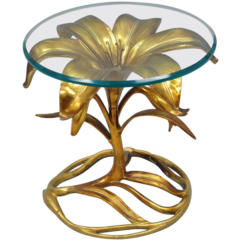 Flower Coffee Table.Arthur Court Hollywood Regency Gold Lily Leaf Flower Round Glass Top Side Table