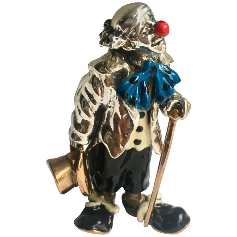 Sterling Silver and Enamel Clown Figure after Tiffany & Co., Gene Moore