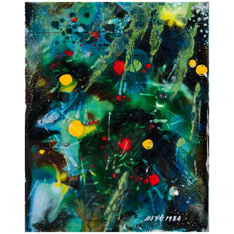 Untitled VII by Ming Chiao Kuo, Enamel Painting on Copper, 1984, Framed For Sale