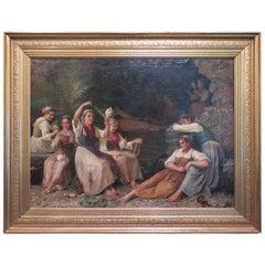 "19th Century Oil on Canvas ""the Twelve Virgins"" by Kristian Zhartmann, 1878"