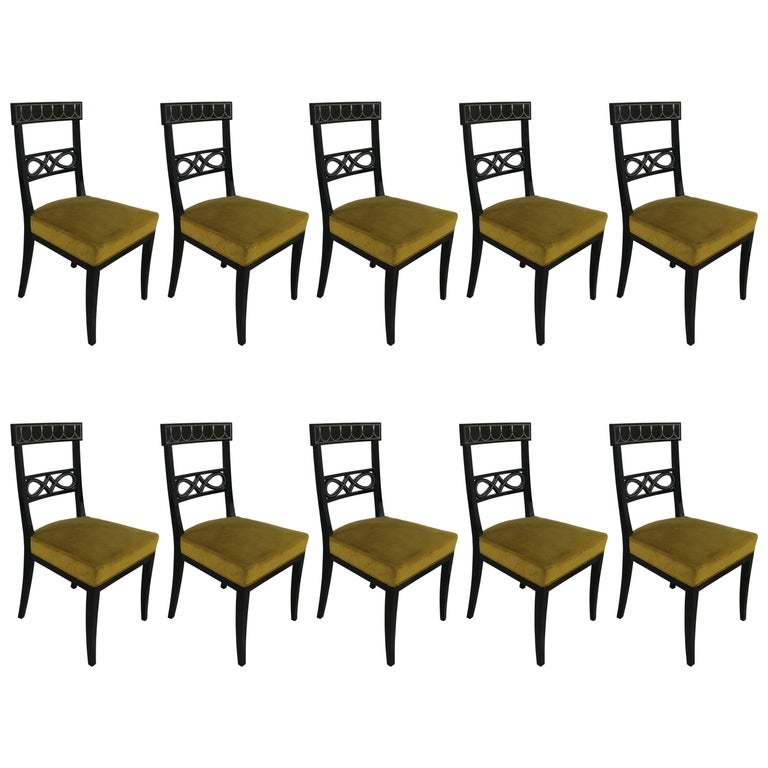 Set of Ten Brass-Inlaid and Ebonized Dining Chairs in the Regency Manner