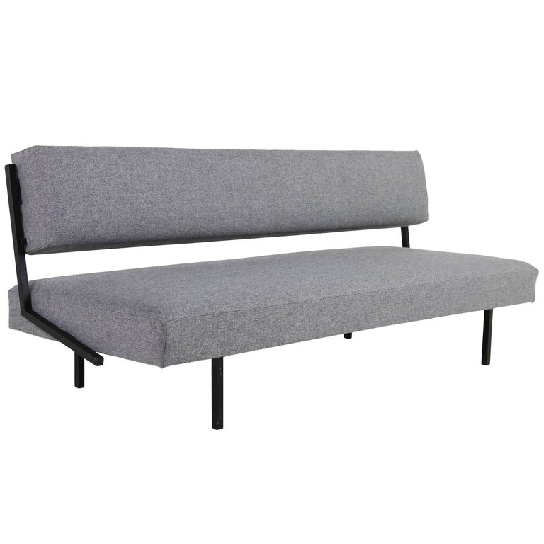 1960s Minimalist Daybed, Metal Base, New Upholstery, Grey Fabric, Midcentury