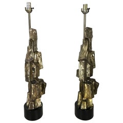 Monumental Maurizio Tempestini for Laurel Bronzed Brutalist Table Lamps