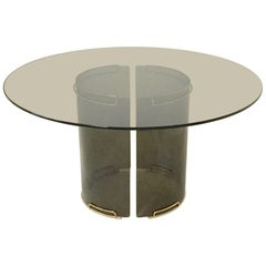 Round Grey Smoky Glass Dining Table with Curved Glass Base and Brass Fittings