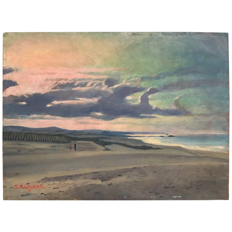 "Japan Inviting ""Stroll Along Shore at Sunset"" Oil Painting Signd S. Akiyama For Sale"