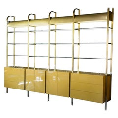 1970s Brass, Glass and Lacquer Wall Unit, Lighted