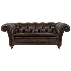 Midcentury Chesterfield Tufted Aged Dark Brown Leather Club Sofa