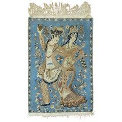 Vintage Persian Nain Pictorial Rug