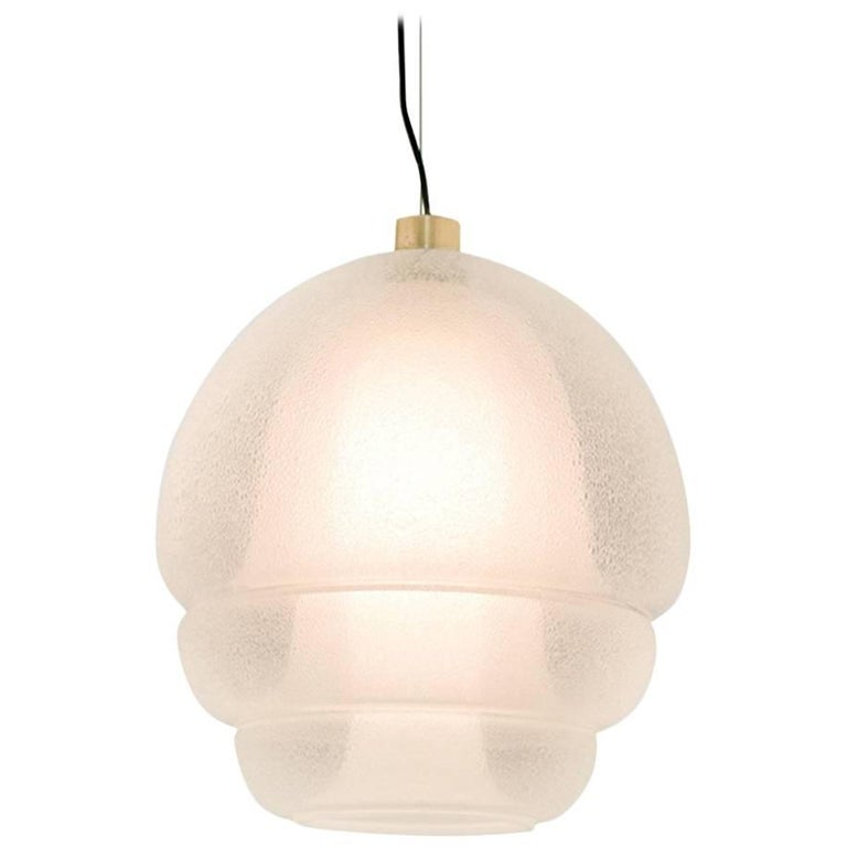 Murano Glass And Brass Italian Midcentury Pendant Lamp By Carlo Nason 1960s For Sale
