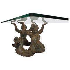 "Vintage Bronze Merman or ""Putti Di Mare"" Coffee Table with Glass Top"