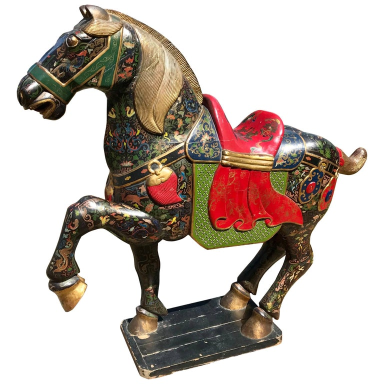 Chinese Horse Sculpture, Hand-Carved & Painted with Gold Gilt, Mid-20th Century