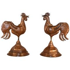 Pair of Copper Roosters, circa 1960