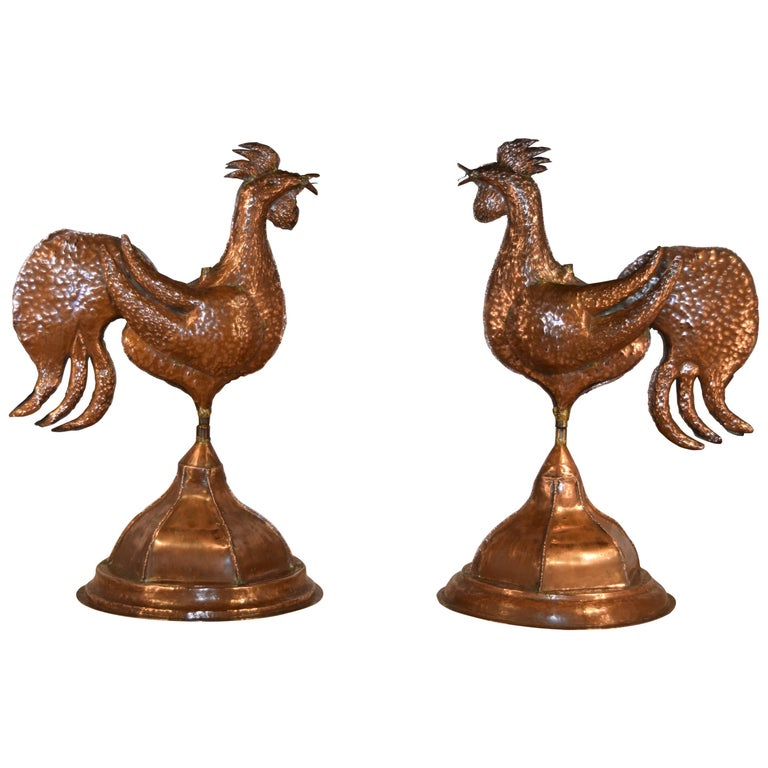 Pair of Copper Roosters, circa 1960 For Sale