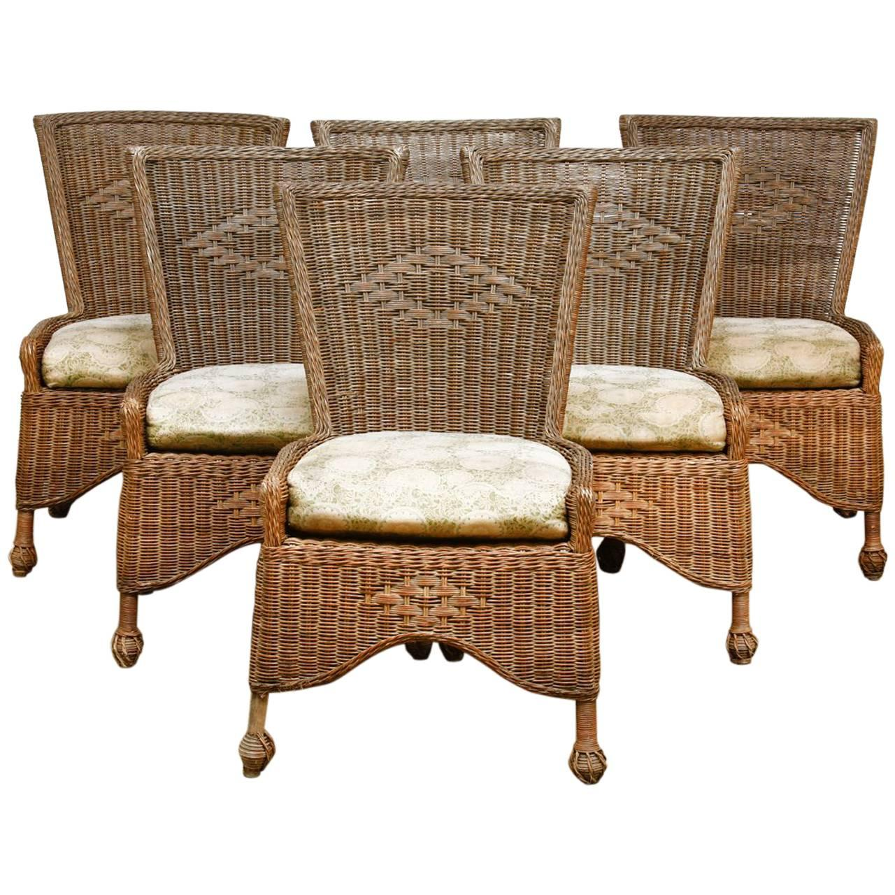 Set Of Six French Wicker And Rattan Patio Dining Chairs For Sale