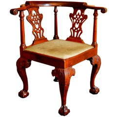 18th Century George II Mahogany Corner Chair