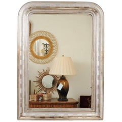 French 19th Century Silver Gilt Louis-Philippe Mirror with Alternating Patterns