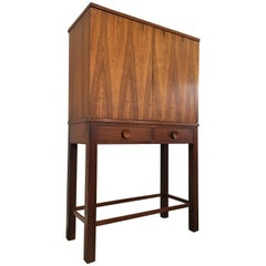 Exceptional Tage Frid Brazilian Rosewood Cabinet Having Solid Brass Galleries