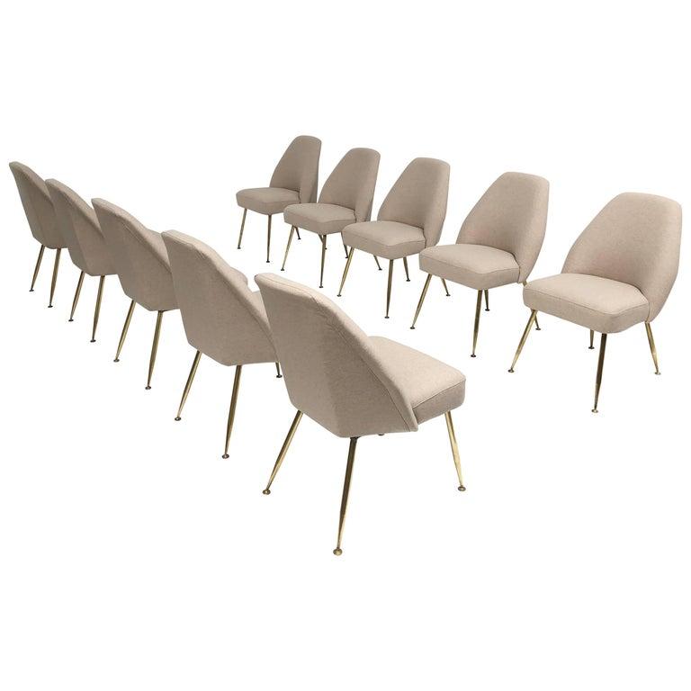 Brass Leg Chairs by Pagani, Partner of Gio Ponti & Linda Bo Bardi, 1952, Arflex For Sale