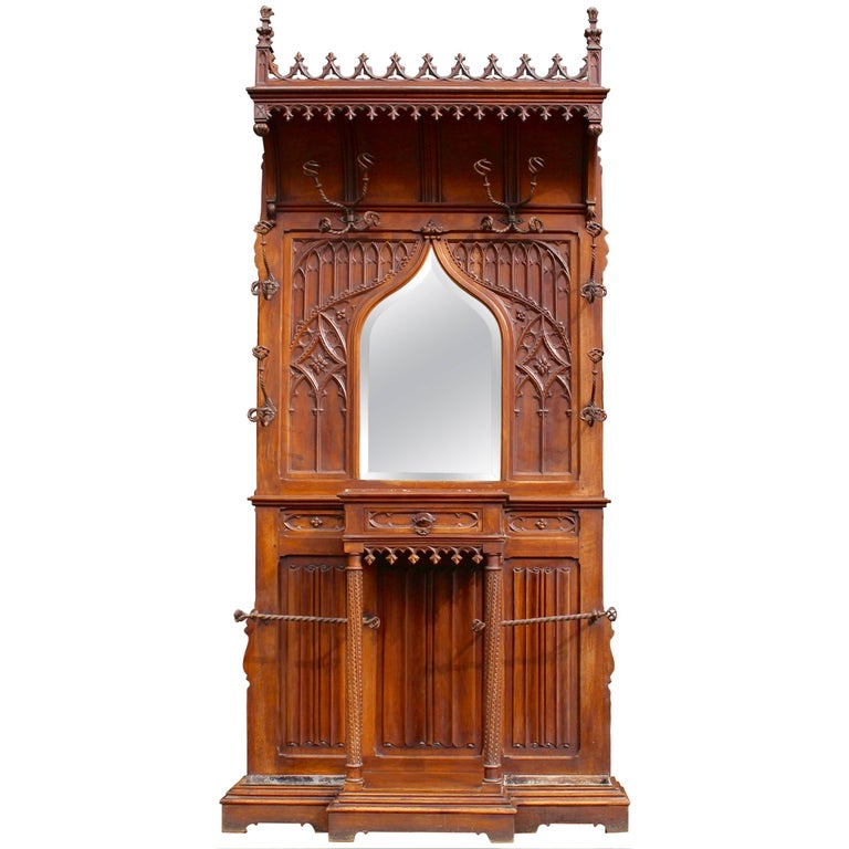 Continental Gothic Revival Carved Walnut Hall Stand, circa 1890 For Sale