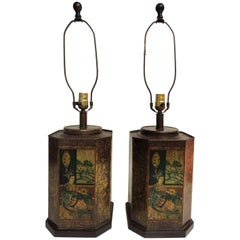 Pair of Vintage Asian Tin Hand-Painted Canister Table Lamps