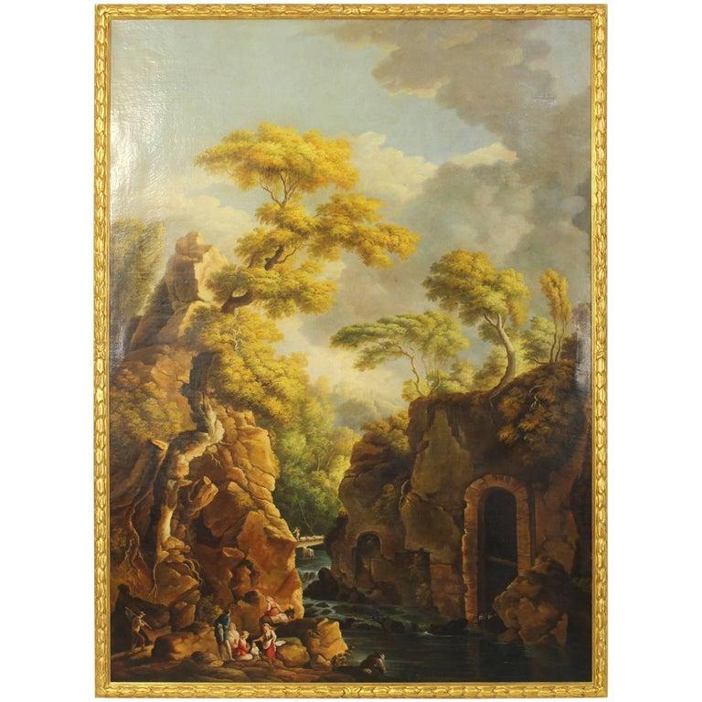 Large 19th Century Italian Landscape Painting
