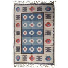 Handmade Vintage Scandinavian Flat-Weave Kilim, 1950s
