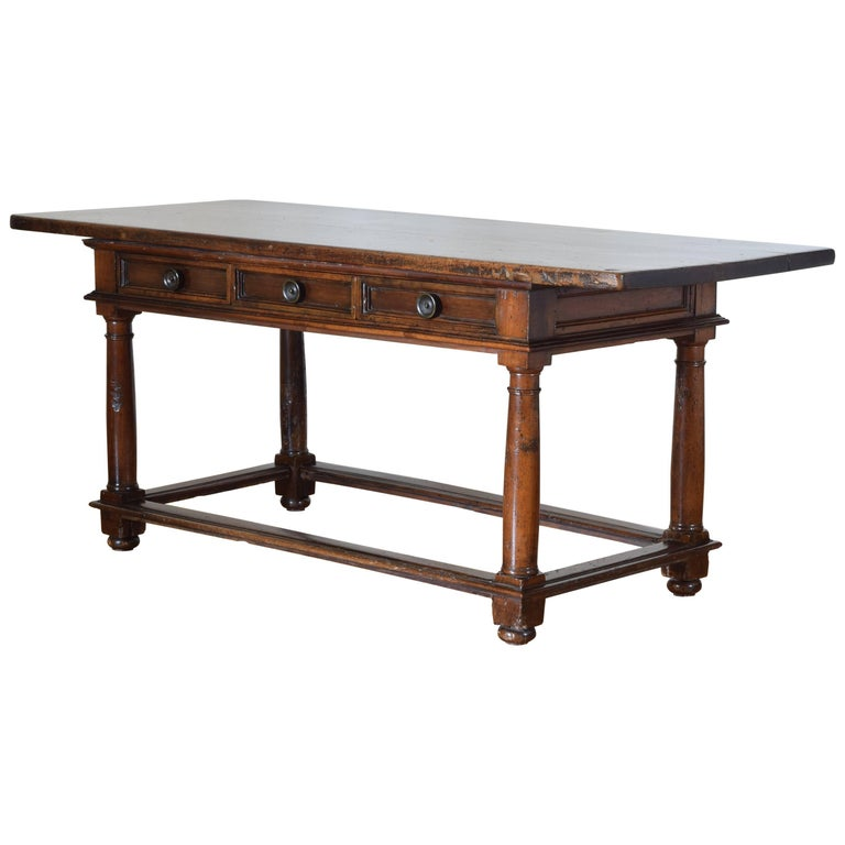Italian Baroque, Tuscany, Walnut Three-Drawer Center or Library Table