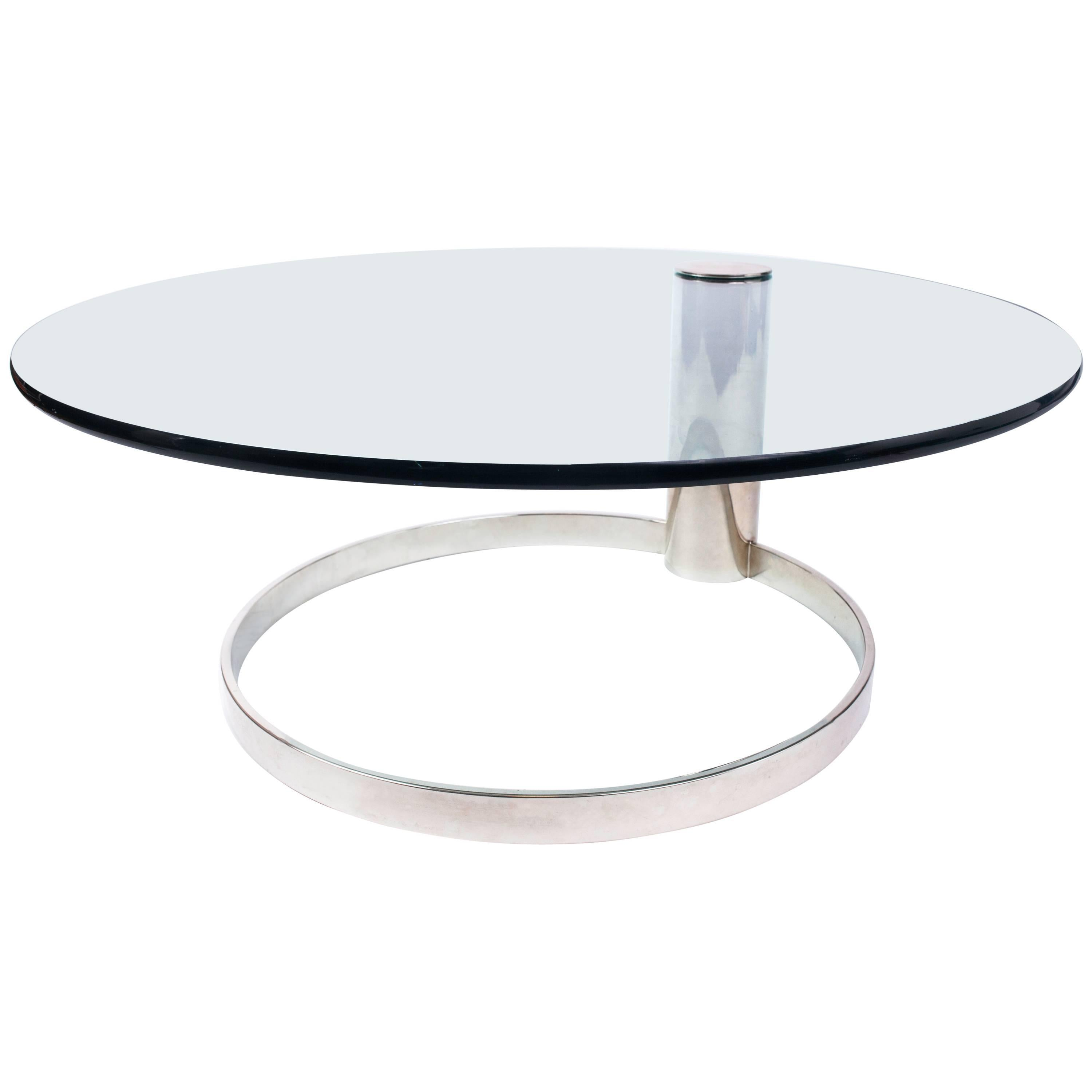 Minimalist Round Glass and Chrome Coffee Table by Leon Rosen for Pace, 1970's