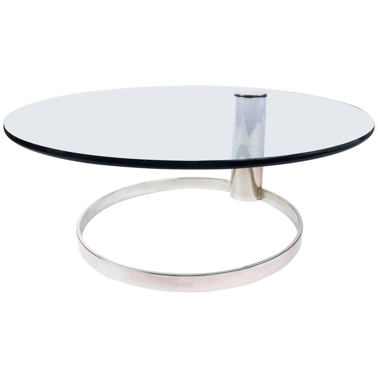 Minimalist Glass and Chrome Coffee Table by Leon Rosen for Pace, 1970s