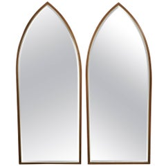Pair of Modern Mirrors in Walnut and Brass