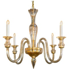 Vintage, Handblown Murano Glass with Etched Body Chandelier