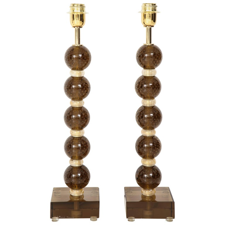 "Pair of Italian Murano ""Pulegoso"" Glass Lamps in Bronze and Gold, Signed"