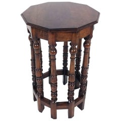 19th Century French Ten-Sided Walnut Side Table