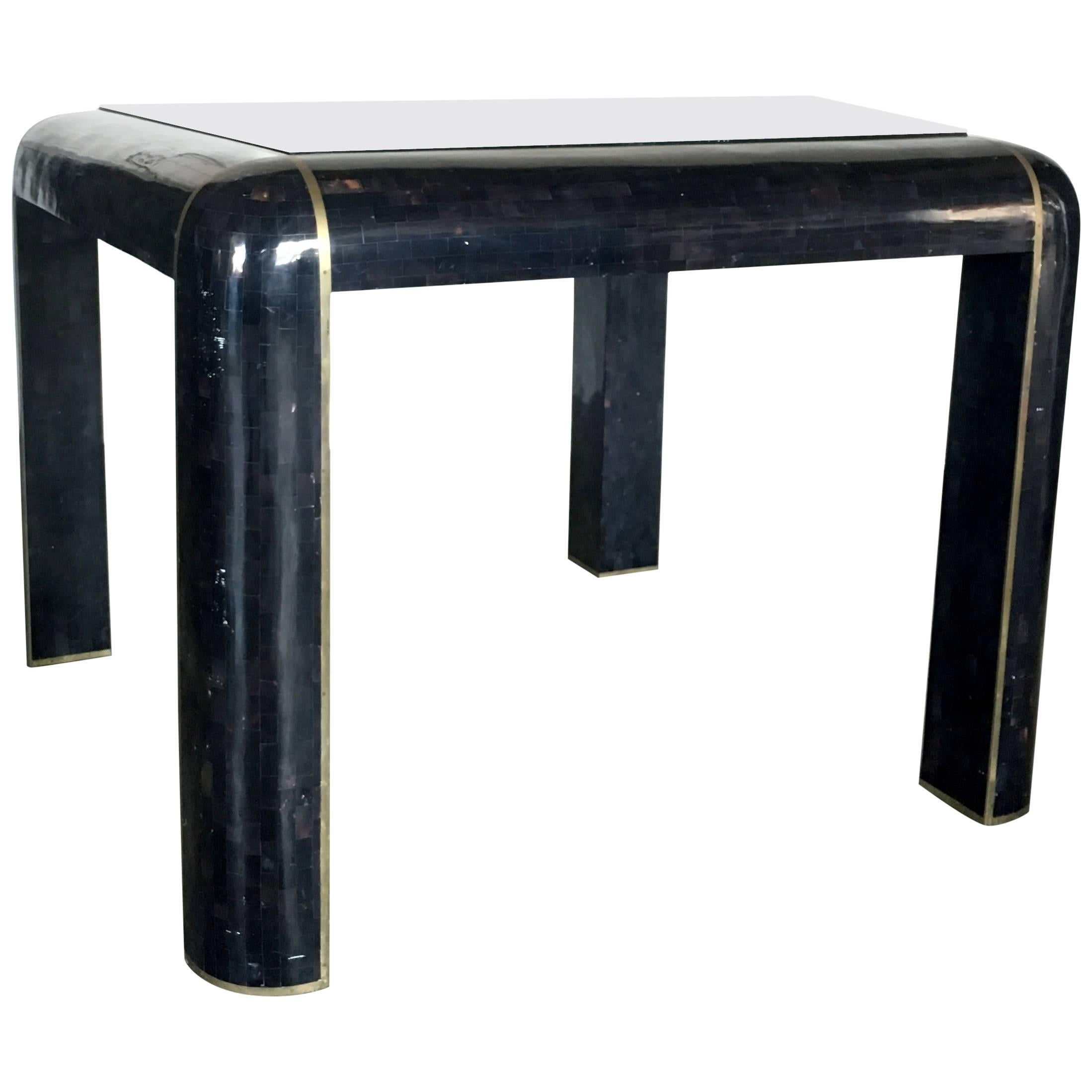 Tesselated Horn Game Table Or Small Dining Table By Maitland Smith For Sale