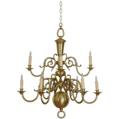 French Baroque Style Brass Ten-Light Two-Tier Chandelier, UL Wired