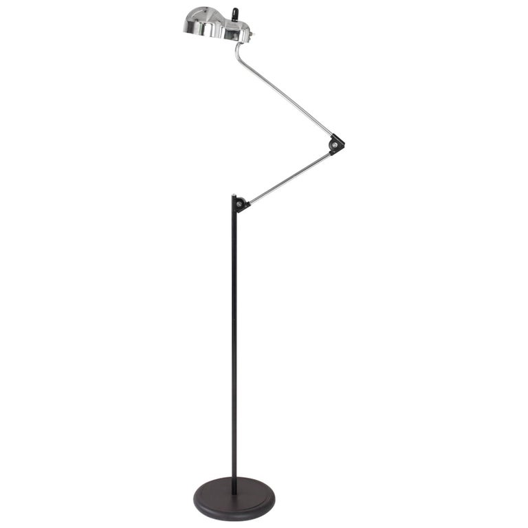 Stilnovo: Articulated Minimalist Chrome Floor Lamp by Joe Colombo, Italy 1960's