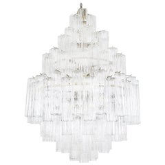 "Vintage Italian ""Tronchi"" Glass Chandelier by Venini"