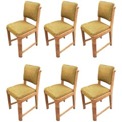 Charles Dudouyt, Set of Six Oak and Velvet Chairs, circa 1940