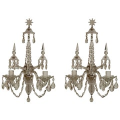 Impressive Pair of Classic English Georgian Cut Crystal Two-Light Sconces